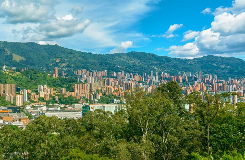 Medellin city with mountains in the background