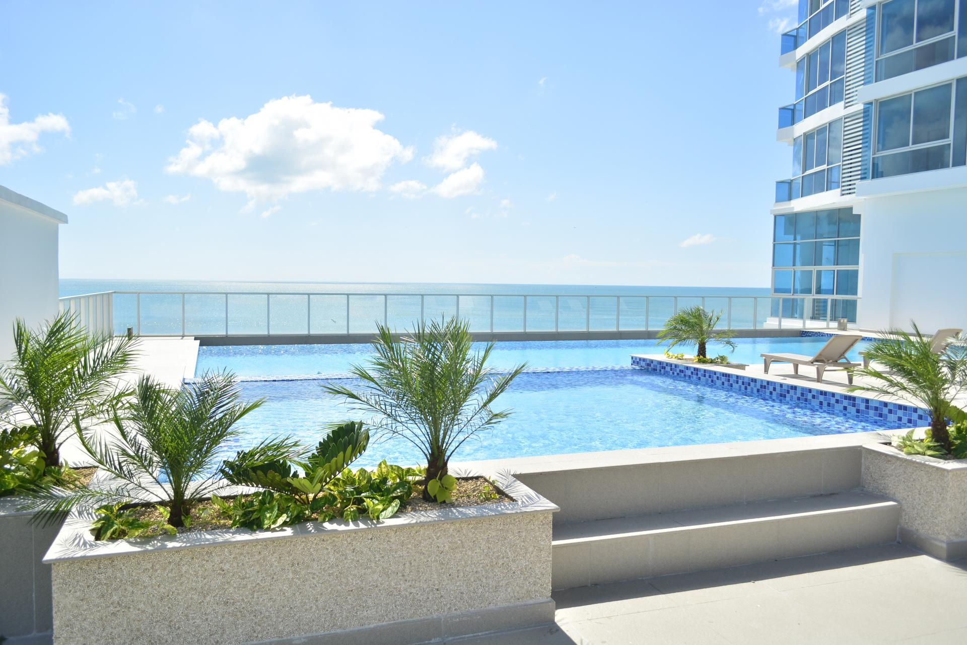 Pool of apartment building in a beach in Panama