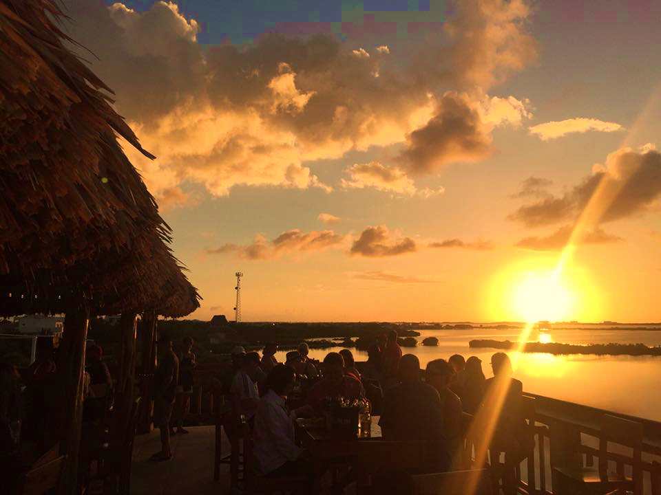 Sunset at Croc's Sunset Sports Bar in Belize