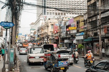 Busy street in Asia