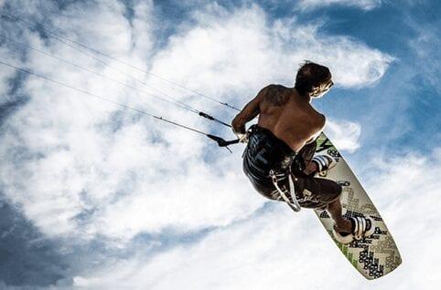 A man Kitesurfing