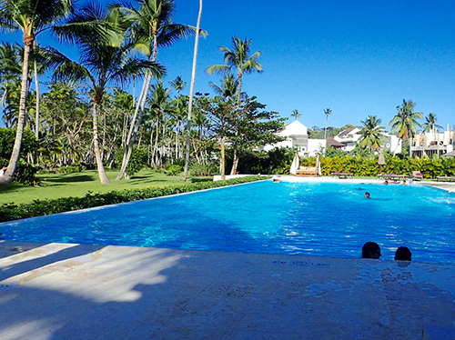 Pool in Las Terrenas with palm trees