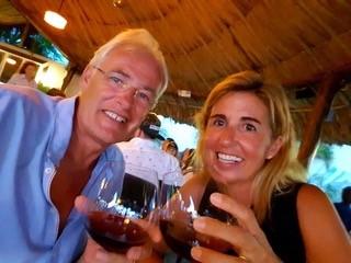 Carla and Simon Fowler drinking wine