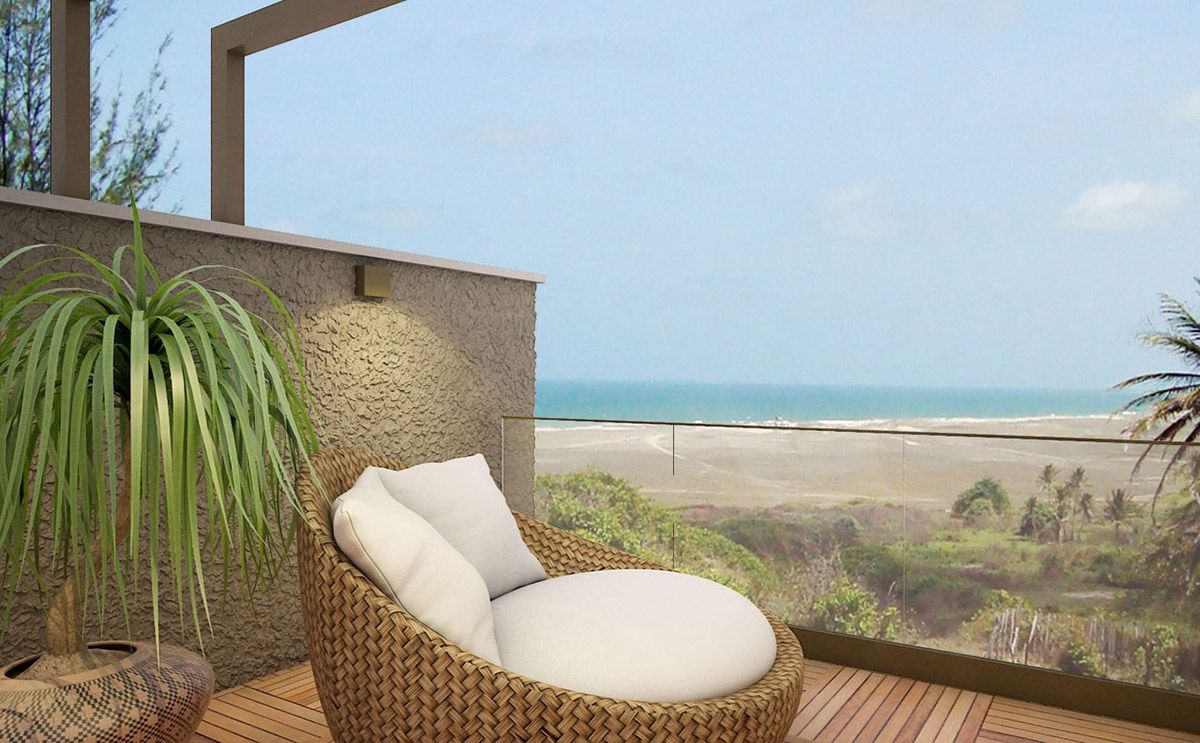 Balcony with a view to a beach in Fortaleza, Brazil