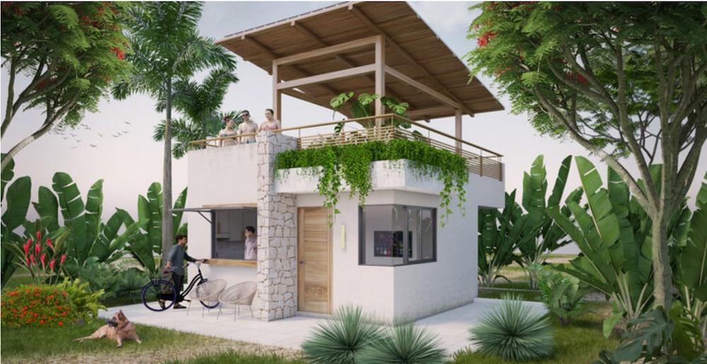 A beautiful white tiny home on Nicaragua